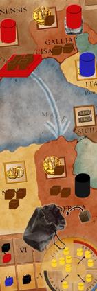 Ein kleiner Einblick ins Spielmaterial von ''Das Ende des Triumvirats''
